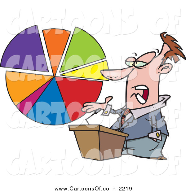 Vector Cartoon Illustration of a Caucasian Male Business Man Standing at a Podium, Discussing a Pie Chart