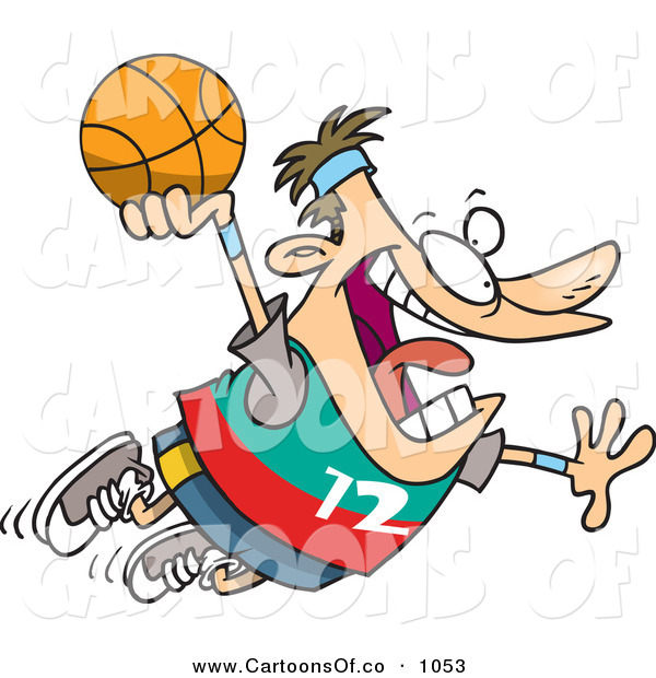 Vector Cartoon Illustration of a Caucasian Man About to Dunk a Basketball into the Basketball Hoop