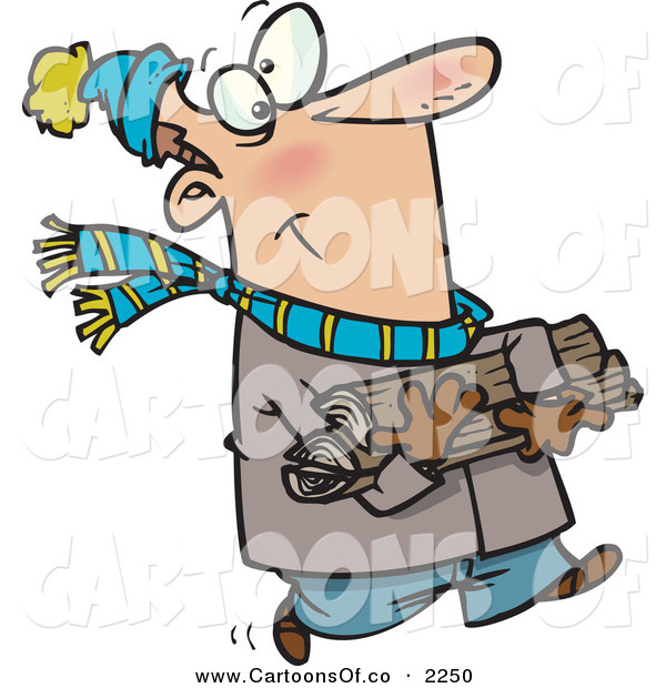 Vector Cartoon Illustration of a Caucasian Man Buncled up in Winter Clothing Carrying Firewood for His Fireplace