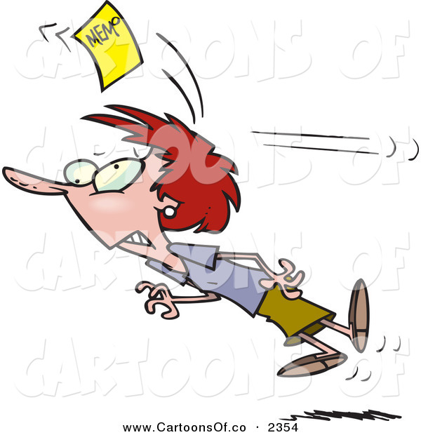 Vector Cartoon Illustration of a Caucasian Woman Chasing a Yellow Memo Slip After Being Hit on the Head