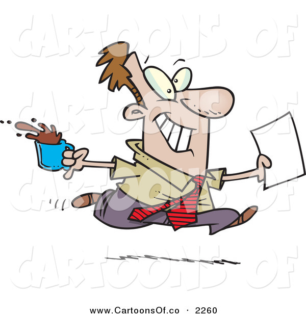 Vector Cartoon Illustration of a Cheerful and Grinning Brown Nosing Business Man Fetching Coffee and Papers for the Boss