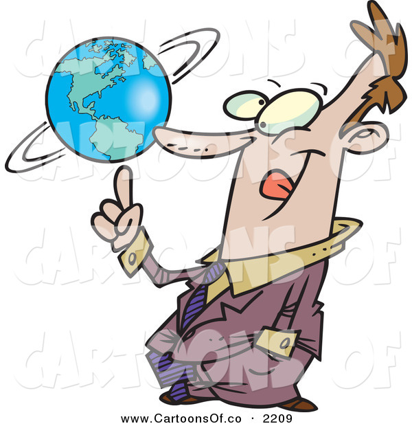 Vector Cartoon Illustration of a Cheerful and Successful Business Man Spinning the World Globe on His Finger