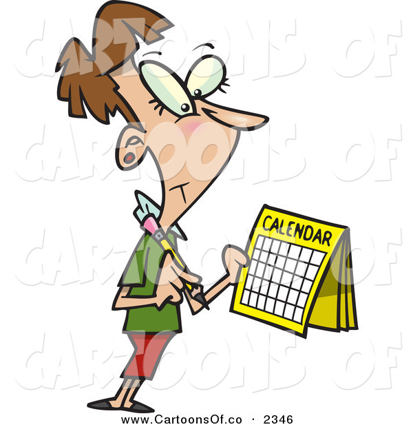 Vector Cartoon Illustration of a Cheerful Brunette Woman Marking a Day on Her Calendar