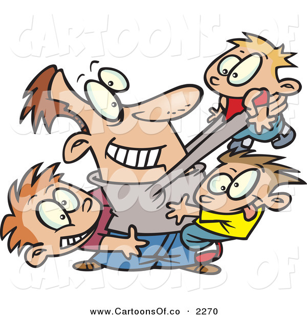 Vector Cartoon Illustration of a Cheerful Father Horse Playing with His Three Sons over White