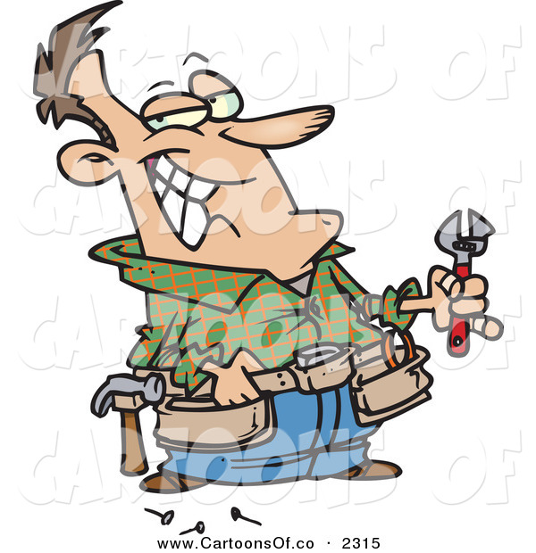Vector Cartoon Illustration of a Cheerful White Handy Man Holding Tools and Smiling