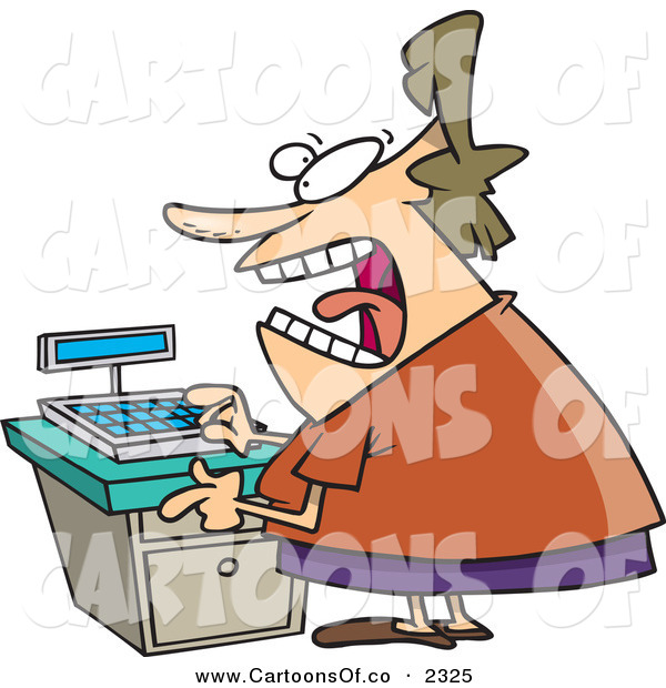 Vector Cartoon Illustration of a Crazed and Stressed out Clerk Woman at a Cash Register in a Store