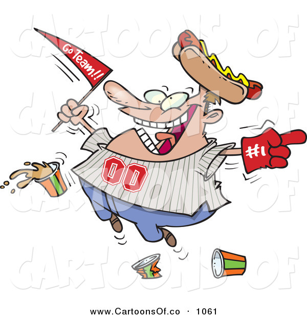 Vector Cartoon Illustration of a Crazy Caucasian Male Baseball Fan with a Hot Dog Hat, Flag, Hand and Drinks
