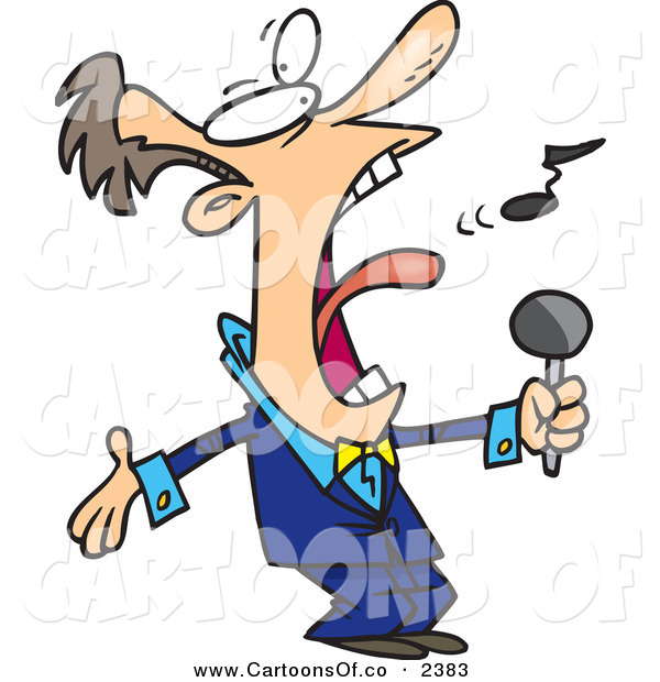 Vector Cartoon Illustration of a Crazy White Man in a Blue Suit, Singing the Anthem