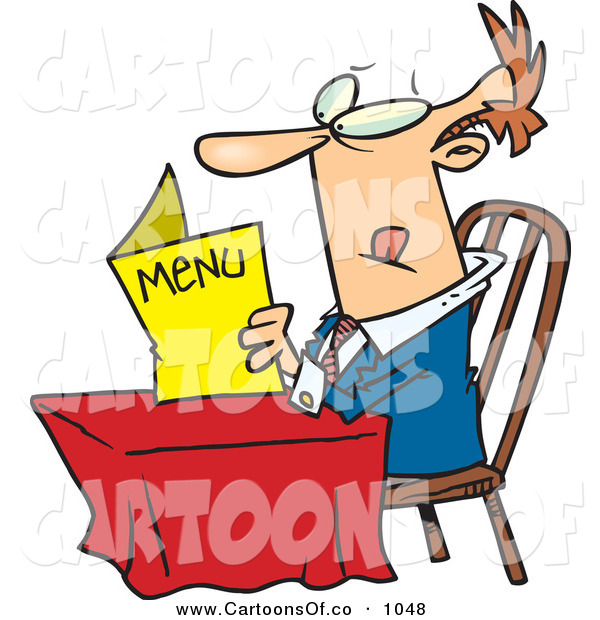 Vector Cartoon Illustration of a Determined Caucasian Man Sitting at a Table and Reading a Menu at a Restaurant on White