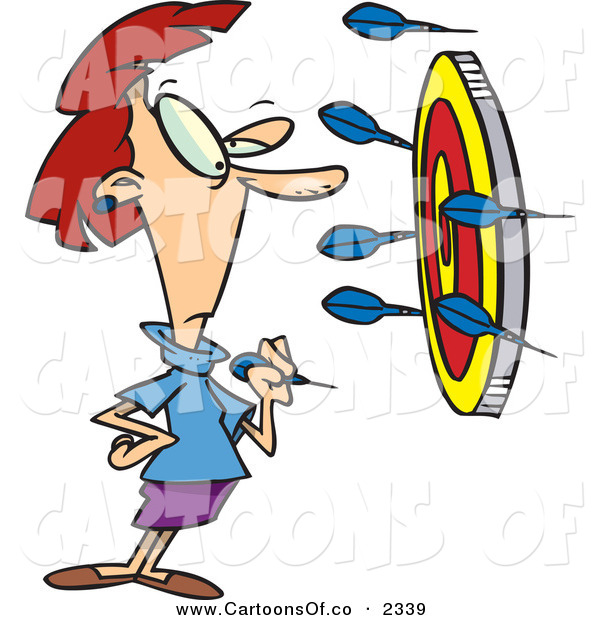 Vector Cartoon Illustration of a Determined Woman Throwing Darts at a Target, Trying to Get a Bullseye