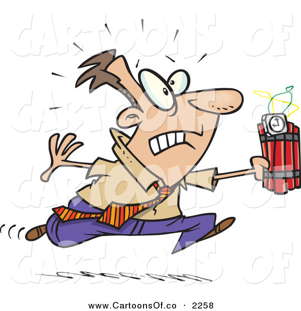 Vector Cartoon Illustration of a Frowning and Nervous Caucasian Man Running with Dynamite, Trying to Save the Day