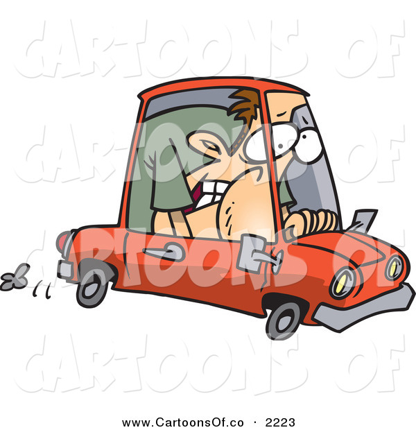 Vector Cartoon Illustration of a Frowning Caucasian Man Squished into a Tiny Compact Mini Car