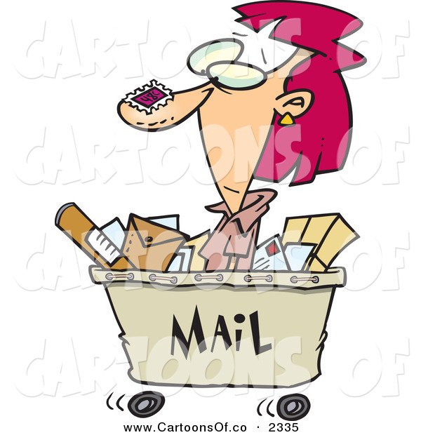 Vector Cartoon Illustration of a Goofy Red Headed Woman in a Mail Cart, Stamped with Postage