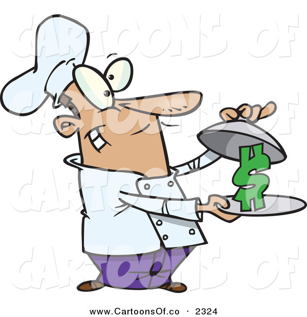 Vector Cartoon Illustration of a Grinning and Outgoing Male Chef Serving a Dollar Sign on a Platter