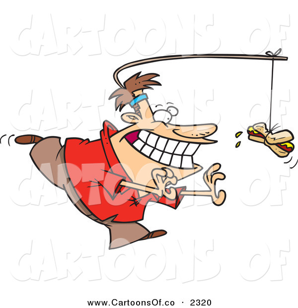 Vector Cartoon Illustration of a Grinning Dieting Man Chasing a Hotdog on a Stick Attached to His Head