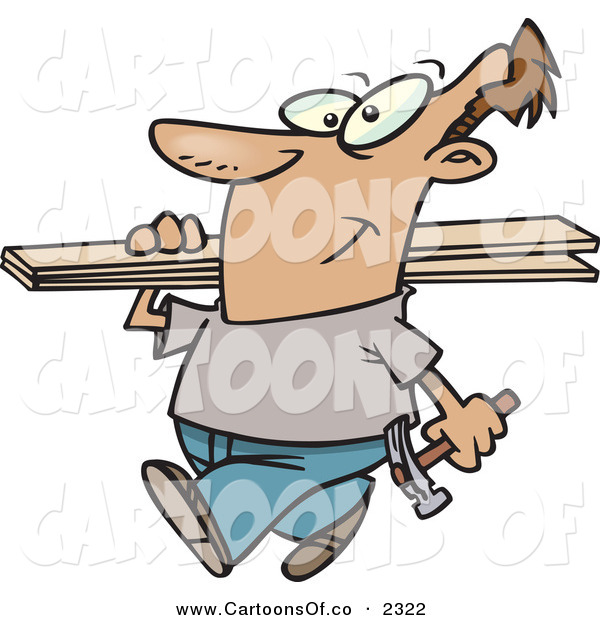 Vector Cartoon Illustration of a Happy and Cheerful Man Carrying a Hammer and Fence Boards