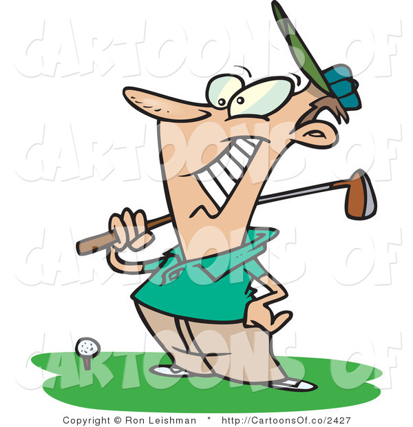 Vector Cartoon Illustration of a Happy Caucasian Male Golfer near a Ball, Holding His Golf Club