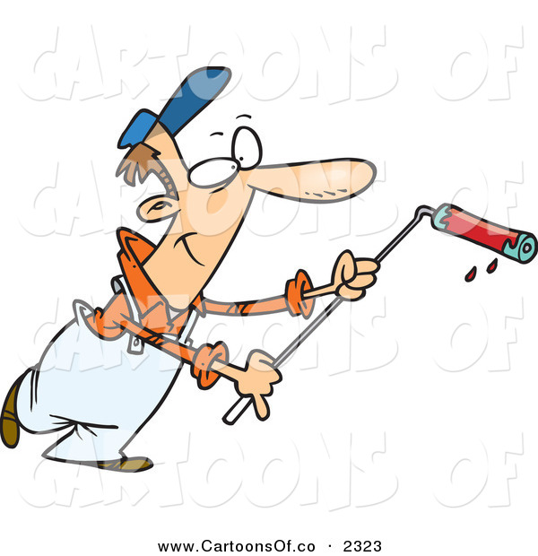 Vector Cartoon Illustration of a Happy Man Using a Long Paint Roller While Painting on White