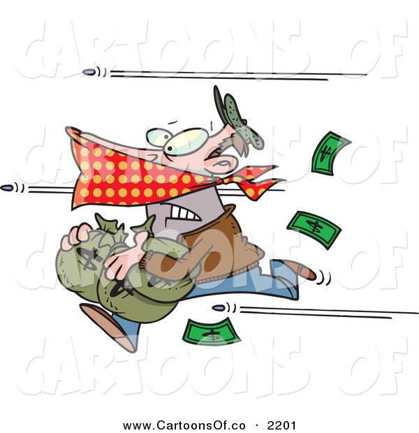 Vector Cartoon Illustration of a Humorous Bank Robber Running with Money, Bullets Being Shot at Him