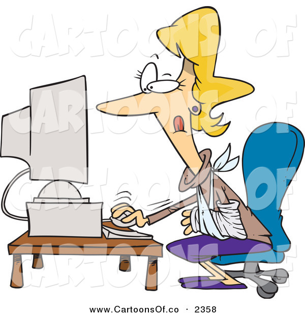Vector Cartoon Illustration of a Hurt Blond Woman Using a Desktop Computer with an Injured Arm