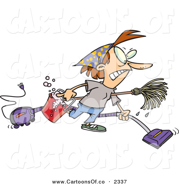Vector Cartoon Illustration of a Mad Woman Wearing Herself out While Doing Spring Cleaning