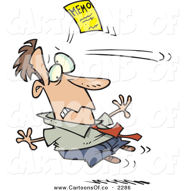Vector Cartoon Illustration of a Man Being Attacked by a Yellow Memo Paper over White
