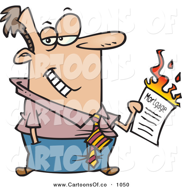Vector Cartoon Illustration of a Man Burning His Mortgage Papers While Looking Right
