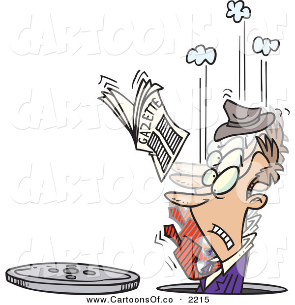 Vector Cartoon Illustration of a Man in a Manhole, His Newspaper in the Air on White