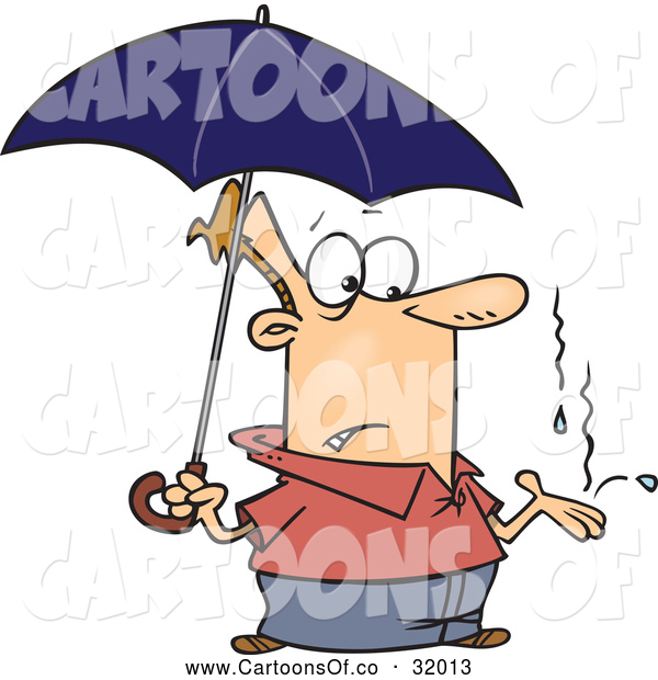 Vector Cartoon Illustration of a Man Under an Umbrella, Catching Raindrops in His Hand