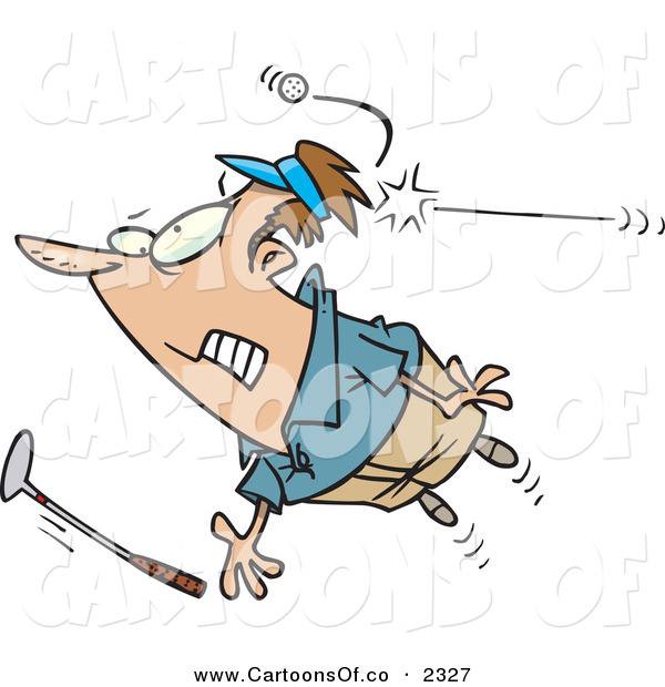 Vector Cartoon Illustration of a Nervous Male Golfer Being Hit in the Back of the Head by a Golf Ball