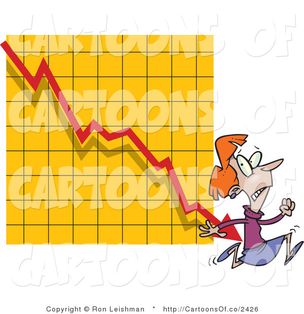 Vector Cartoon Illustration of a Nervous Scared Woman Running from a Bar on a Declining Graph