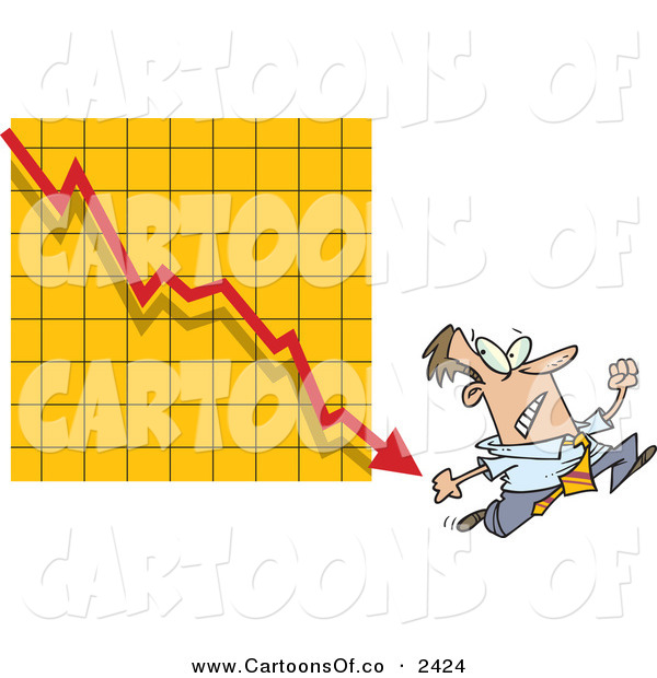 Vector Cartoon Illustration of a Nervous White Man Running from a Bar on a Declining GraphNervous White Man Running from a Bar on a Declining Graph