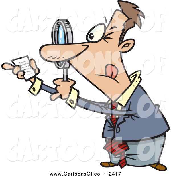 Vector Cartoon Illustration of a Paranoid White Businessman Using a Magnifying Glass to Read Fine Print on a Document