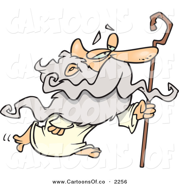 Vector Cartoon Illustration of a Personification of a Senior Man, Father Time, in a Robe, Walking with a Cane on a White Background