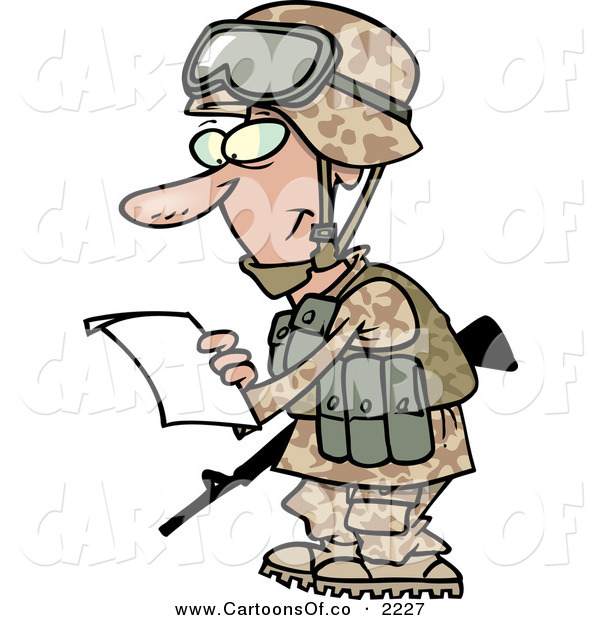 Vector Cartoon Illustration of a Smiling White Marine Soldier Man in a Camouflage Uniform and Helmet, Reading a Letter on White