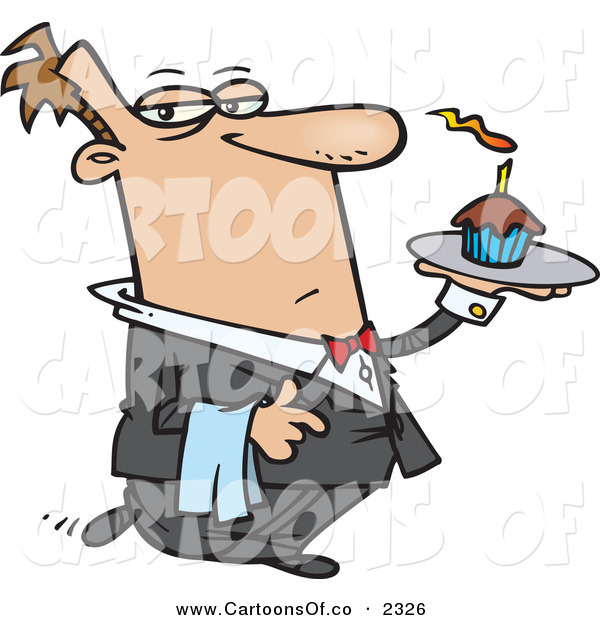 Vector Cartoon Illustration of a Squinting Caucasian Male Butler Carrying a Cupcake with a Lit Candle on a Tray