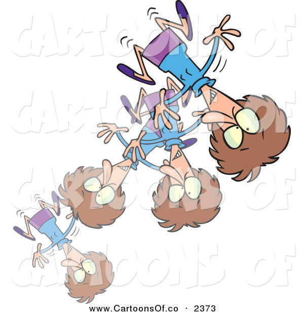 Vector Cartoon Illustration of a Stressed or Excited Woman Bouncing Around the Room on White