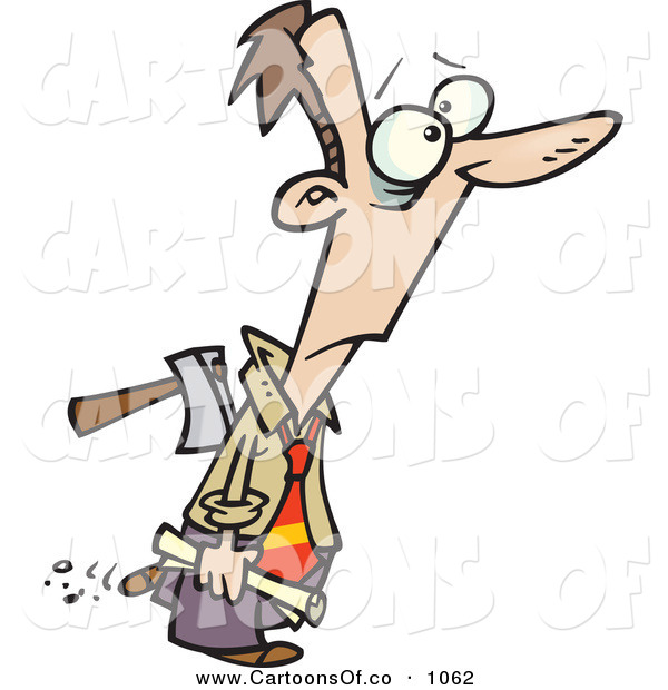 Vector Cartoon Illustration of a Surprised Man with an Axe in His Back, Betrayed
