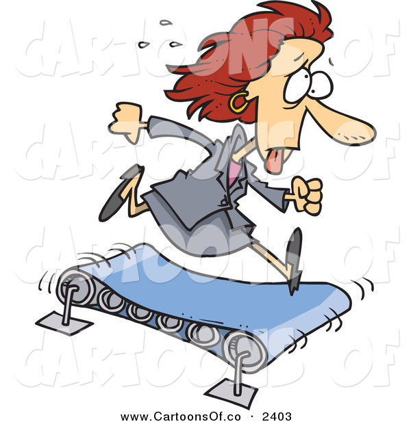 Vector Cartoon Illustration of a Sweaty Hot White Business Woman Running on a Treadmill