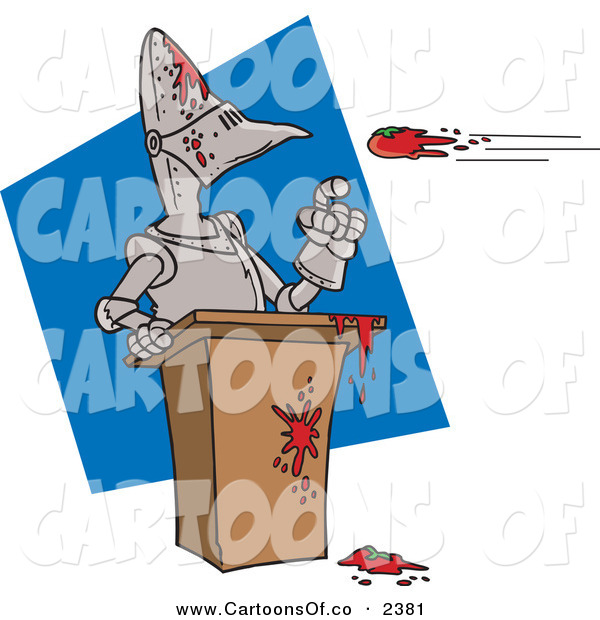 Vector Cartoon Illustration of a Throwing Tomatoes at a Suit of Armor on a Blue and White Background
