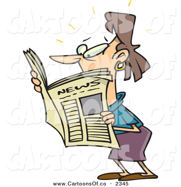 Vector Cartoon Illustration of a White Brunette Woman Reading a Newspaper Looking to the Left