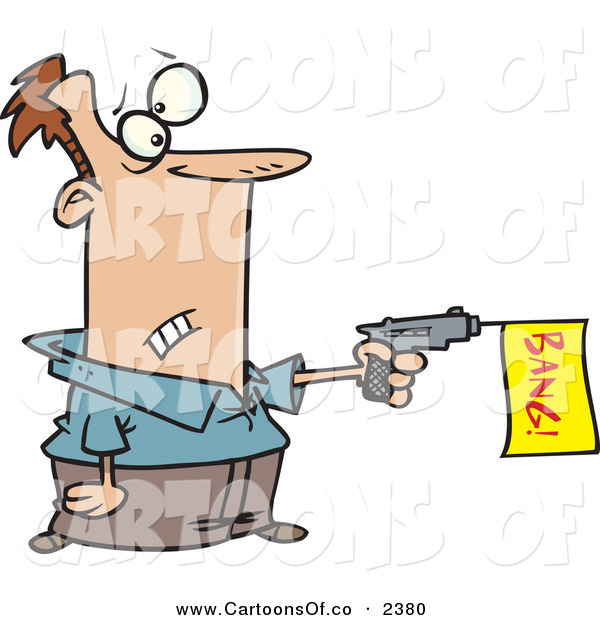 Vector Cartoon Illustration of a White Man Shooting a Dud Gun with a Yellow Bang Flag on White