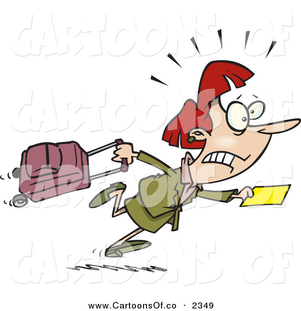 Vector Cartoon Illustration of a Worried Caucasian Woman in a Hurry to Catch Her Flight