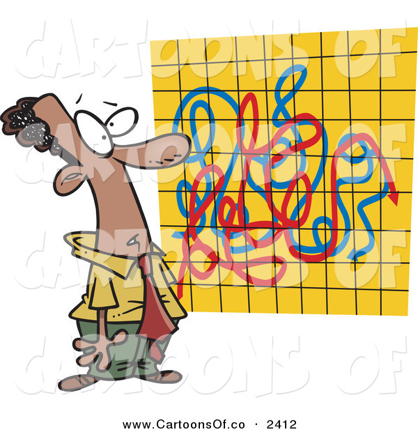 Vector Cartoon Illustration of an African American Man Looking at a Crazy Graph Chart on a Yellow Graph