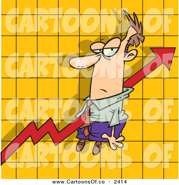 Vector Cartoon Illustration of an Increasing Arrow on a Graph Chart, Going Right Through a White Man