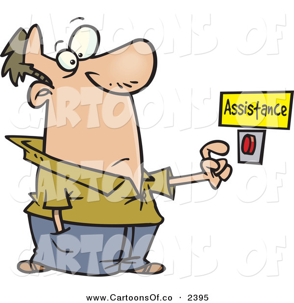Vector Cartoon Illustration of an Unsure Caucasian Man About to Push a Customer Service Button Under an Assistance Sign