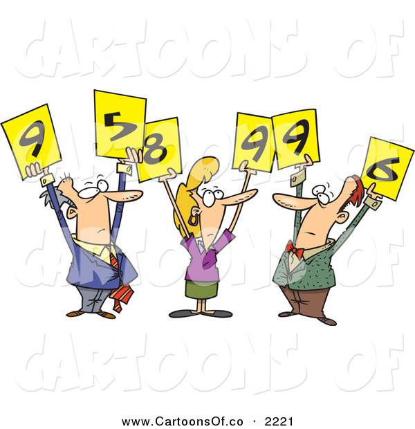 Vector Cartoon Illustration of Men and Woman Judges Holding up Number Signs over White
