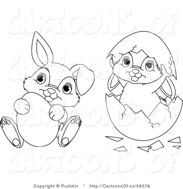 Vector Cartoon Illustration of Outlined Easter Bunnies Egg and Shell