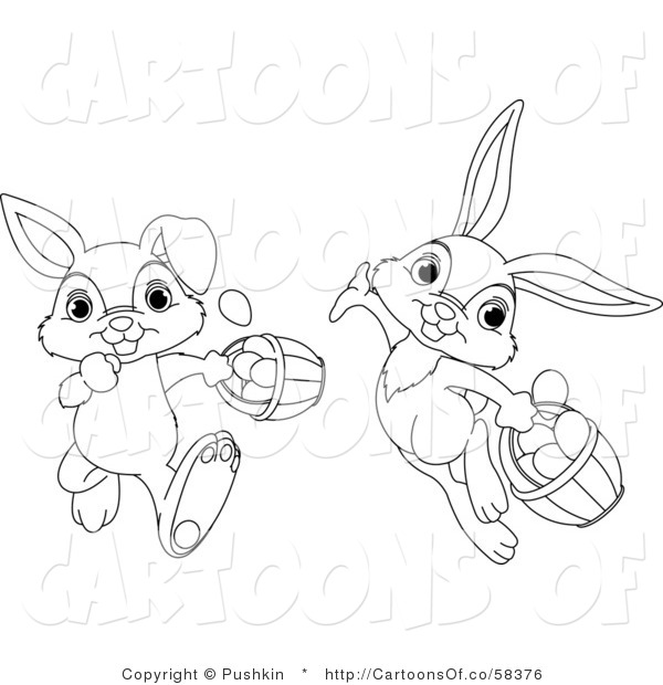 Vector Cartoon Illustration of Outlined Easter Rabbits with Baskets