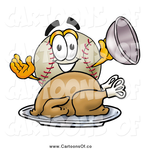 Vector Illustration of a Baseball Character Serving a Thanksgiving Turkey